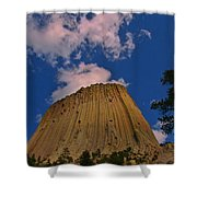 Devils Tower As A Volcano Shower Curtain