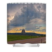 Devils Tower On The Horizon At Sunset Shower Curtain