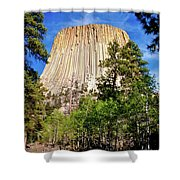 Devil's Tower Through The Trees Shower Curtain