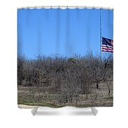 Dfw National Cemetery Flag On The Hill Shower Curtain