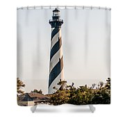 Diagonal Black And White Stripes Mark The Cape Hatteras Lighthou Shower Curtain
