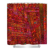 Diagonal Tiles In Reds Shower Curtain