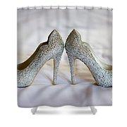 Diamante Wedding Shoes Shower Curtain