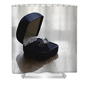 Diamond Ring On A Black Box Shower Curtain