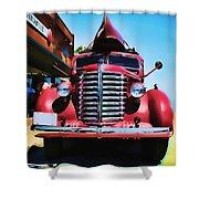 Diamond T Truck - Tomato Red Shower Curtain