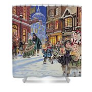 Dickensian Christmas Scene Shower Curtain by Angus McBride