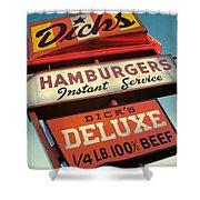 Dick's Hamburgers Shower Curtain by Jim Zahniser