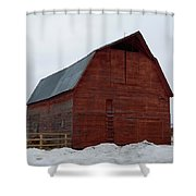 Dictionary's Red Barn Shower Curtain