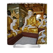 different sitting Buddhas in a circle in SHWEDAGON PAGODA Shower Curtain