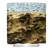 Differential Erosion Shower Curtain