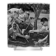 Digging Worms For Fishing Shower Curtain