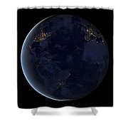 Digital Composite Of Earths City Lights Shower Curtain