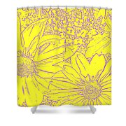 Digital Cone Flowers Drawing Shower Curtain