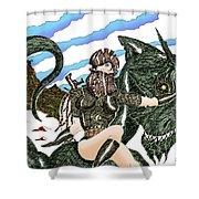 Digital Dragon Rider Colour Version Shower Curtain