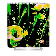 Digital Green Yellow Abstract Shower Curtain