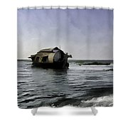 Digital Oil Painting - A Houseboat Moving Placidly Through A Coastal Lagoon Shower Curtain