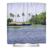 Digital Oil Painting - A Houseboat On Its Quiet Sojourn Through The Backwaters Of Allep Shower Curtain