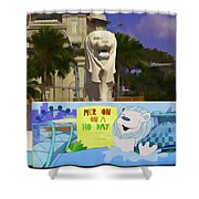 Digital Oil Painting - Statue Of The Merlion With A Banner Shower Curtain