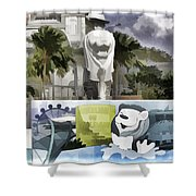 Digital Oil Painting - Statue Of The Merlion With A Banner Below The Statue And With Bu Shower Curtain