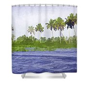 Digital Oil Painting - Water Rippling In The Coastal Lagoon Shower Curtain