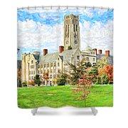 Digital Painting Of University Hall Shower Curtain