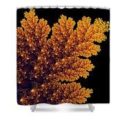 Digital Warm Golden Fractal Leaf Black Background Shower Curtain
