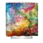 Digital Watercolor Abstract Shower Curtain