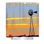 Digital Windmill-horizontal Shower Curtain