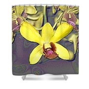 Digitised Orchids Shower Curtain