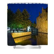 Dijver Canal At Night  Shower Curtain