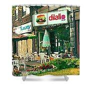 Dilallo Burger Diner Paintings Originalclassic Vintage Burger Joint St Henri St Catherine Cityscene  Shower Curtain