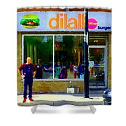 Dilallo Burger Notre Dame Ouest And Charlevoix  Montreal Art Urban Street Scenes Carole Spandau Shower Curtain