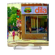 Dilallo Notre Dame Ouest And Charlevoix Sunny Street Montreal Urban City Scene Carole Spandau Shower Curtain