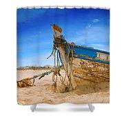 Dilapidated Boat At Ferragudo Beach Algarve Portugal Shower Curtain