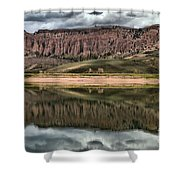 Dillon Pinnacles Reflections Shower Curtain