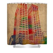 Dime Building Iconic Buildings Of Detroit Watercolor On Worn Canvas Series Number 1 Shower Curtain by Design Turnpike