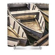 Dinghies Dockside Faded Shower Curtain