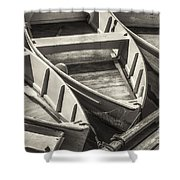 Dinghies Dockside Bw Shower Curtain