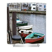 Dinghies Wait At The Pier Shower Curtain