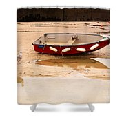 Dinghy At Low Tide In St Ives Cornwall Shower Curtain