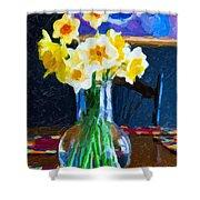 Dining With Daffodils Shower Curtain by Jo-Anne Gazo-McKim