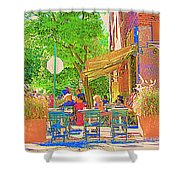 Dinner On The Terrace Le Murphy Boire Et Manger French Bistro Montreal Cafe Street Scene Shower Curtain