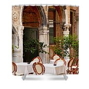 Dinner Tables In Venice Shower Curtain