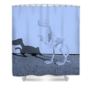 Dino Cyan Shower Curtain