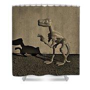 Dino Dark Medium Sepia Shower Curtain