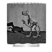 Dino Dark B W Shower Curtain