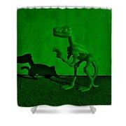 Dino Dark Green Shower Curtain