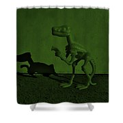 Dino Dark Olive Shower Curtain