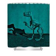 Dino Dark Turquoise Shower Curtain