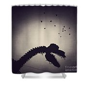 Dino In The City Shower Curtain